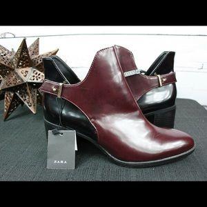NWT- Zara black and burgundy ankle boots!